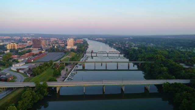 augusta georgia ga downtown drone skyline aerial. - savanne stock-videos und b-roll-filmmaterial