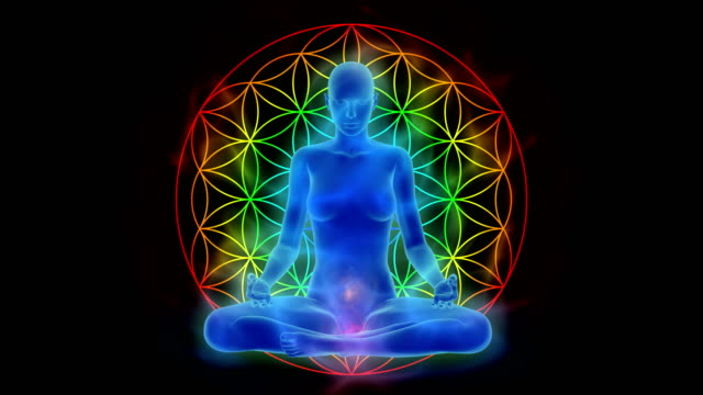 Aura, chakra activation, enlightenment of mind in meditation, symbol flower of life video