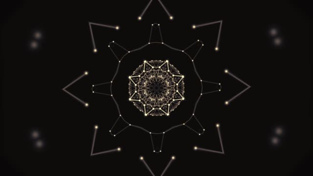Aura energy visualization. Kaleidoscopic polygonal pattern with focus on center in zoom in and out.