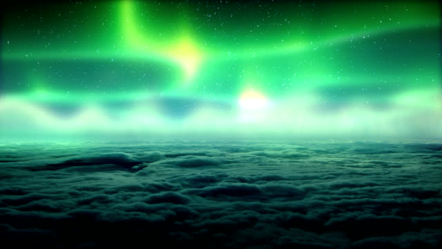 Aurora Borealis above clouds video
