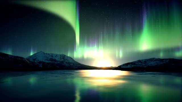 Aurora Borealis above ice video