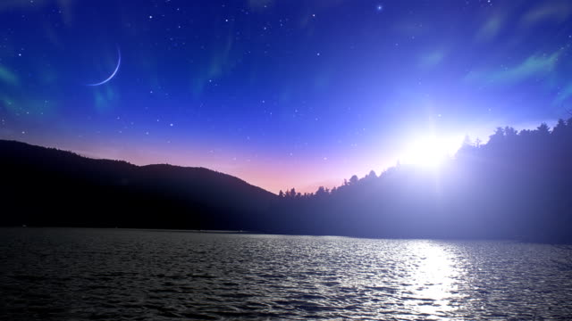 Aurora Borealis and meteors over lake video