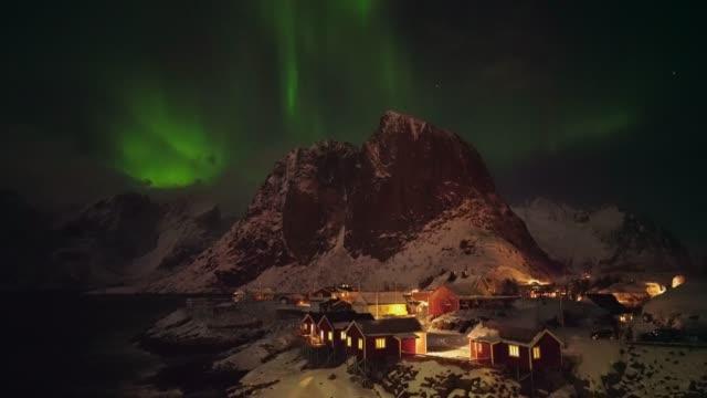 Aurora Borealis on Lofoten Islands in winter