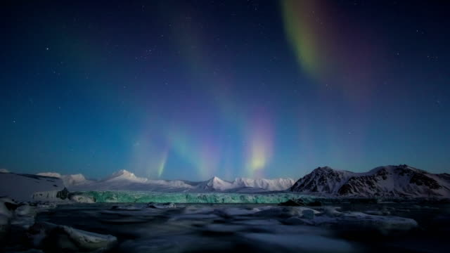 aurora borealis over the arctic in 4k - antarctica travel stock videos & royalty-free footage