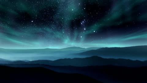 aurora nel cielo notturno - composizione orizzontale video stock e b–roll