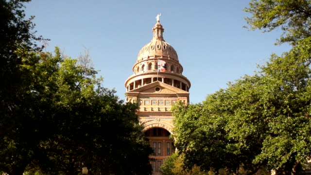 austin texas capital building united states flags wave downtown skyline - capitello video stock e b–roll