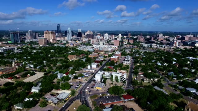 Austin Texas Capitol Cities Skyline Cityscape morning Summertime Bliss entire City view Austin Texas Aerial Drone Rare View looking east with texas hill country behind the Skyline Cityscape east stock videos & royalty-free footage