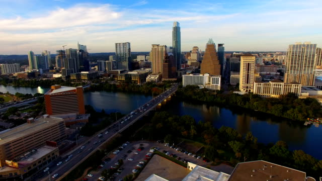 Austin Texas Downtown City Skyline Urban Architecture Panoramic video