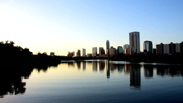 Austin Texas Downtown Colorado River Riverside Town Lake Reflections Skyline Cityscape Central Texas Capital City video