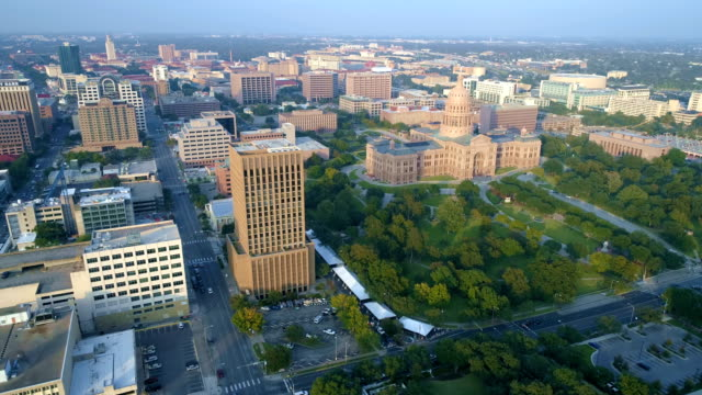 Austin Texas State Capitol building aerial drone view from Air video