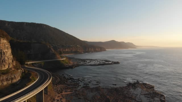 Australia aerial footage sea cliff bridge coastal landscape video