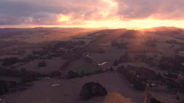 Australia aerial sunset drone footage rural country Australia video