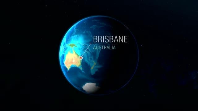 vídeos de stock e filmes b-roll de australia - brisbane - zooming from space to earth - aproximar imagem