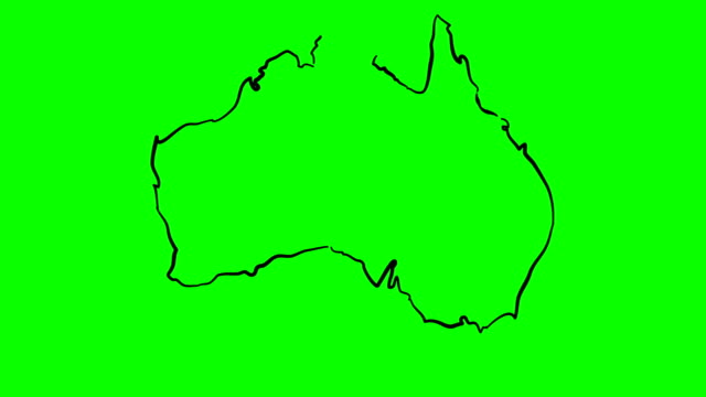 Australia drawing colored map on green screen isolated whiteboard video