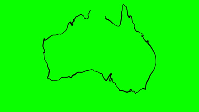 Australia drawing outline map on green screen isolated whiteboard video