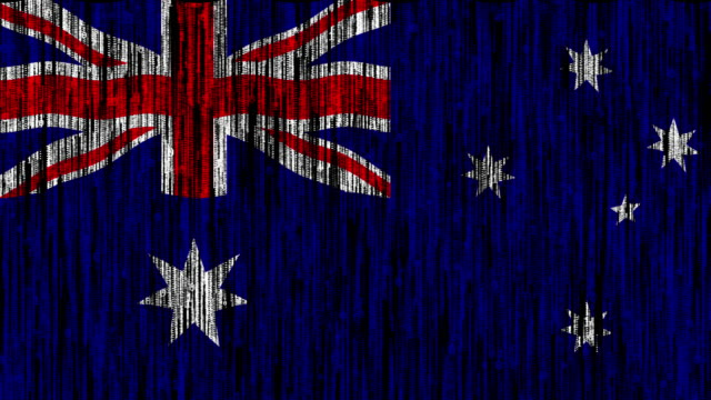 Australia flag digitally generated animation with ones and zeros binary computer code