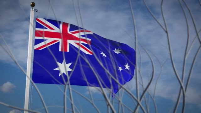 Australia flying flag waving in blue sky - 3d footage animation