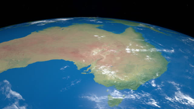 Australia in planet earth gyrating from the outer space video