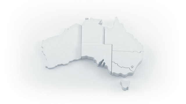 Australia map by states. White version.  oceania stock videos & royalty-free footage
