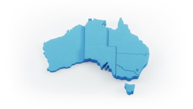 Australia map by states. White version. video