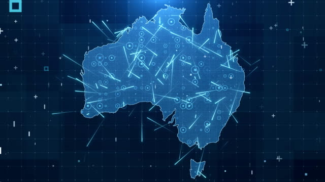 Australia Map Connections full details Background 4K Global Connections, Business, Internet, Country, oceania stock videos & royalty-free footage