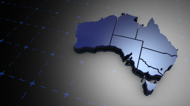 vídeos de stock, filmes e b-roll de 3d austrália - metal - país área geográfica