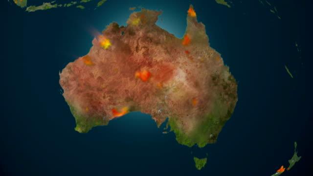 Australia on fire, 4K animation. video