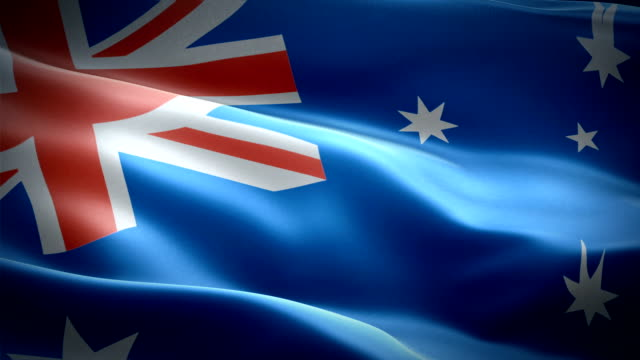 australia waving flag. national 3d australian flag waving. sign of australia seamless loop animation. australian flag hd resolution background. australia flag closeup 1080p full hd video presentation - bandiera nazionale video stock e b–roll