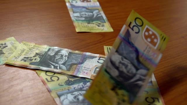 Australian 50 dollar bills notes HD - Stock Video video