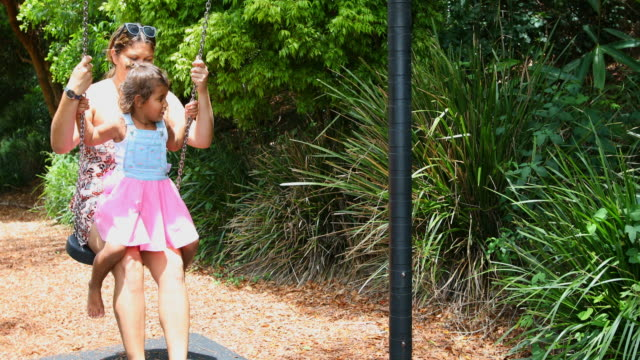 Australian Aboriginal Woman and Girl Playing on a Swing video