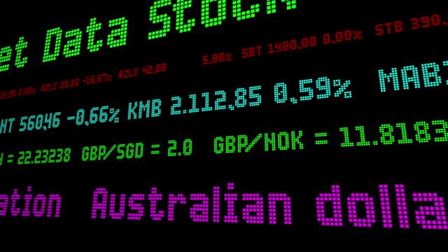 vídeos de stock e filmes b-roll de australian dollar drops 0.7% on interest rate speculation - nyse crash