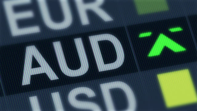 Australian dollar rise, fall. World exchange market. Currency rate fluctuating video