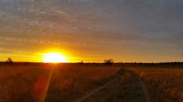 Australian Landscape Dirt Road Sunset / Sunrise video