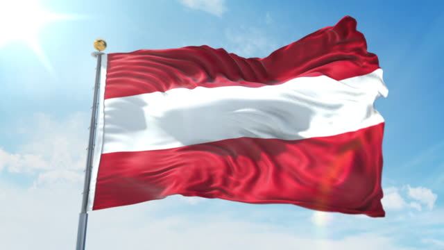 Austria flag waving in the wind against deep blue sky. National theme, international concept. 3D Render Seamless Loop 4K Austria flag waving in the wind against deep blue sky. National theme, international concept. 3D Render Seamless Loop 4K allegory painting stock videos & royalty-free footage
