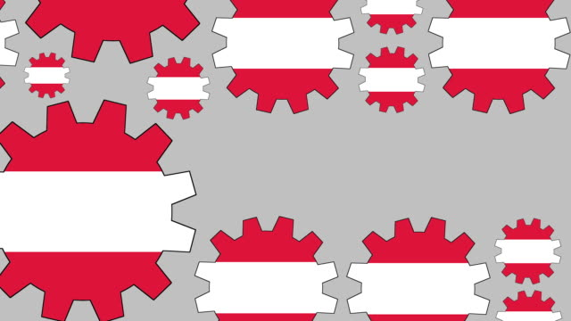 Austrian flag gears shaping euro symbol Digital animation of turning austrian flag gears shaping euro symbol while zooming out for business concept schengen agreement stock videos & royalty-free footage