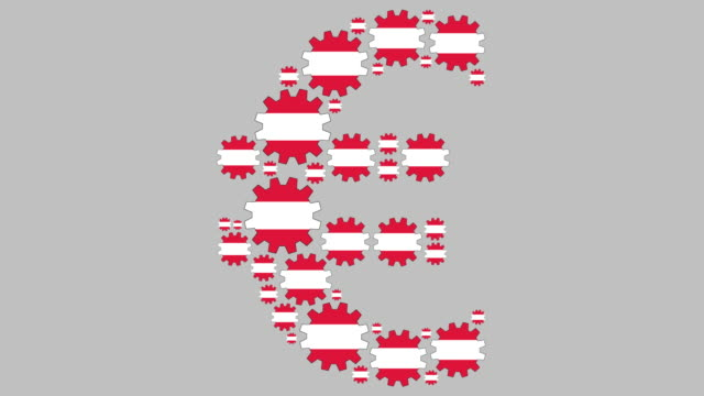 Austrian flag gears shaping euro symbol Digital animation of turning austrian flag gears shaping euro symbol for business concept schengen agreement stock videos & royalty-free footage