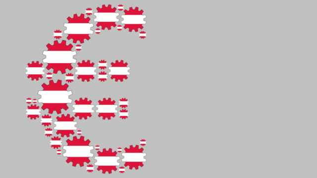 Austrian flag gears shaping euro symbol Digital animation of turning austrian flag gears shaping euro symbol while moving from left to right for business concept schengen agreement stock videos & royalty-free footage