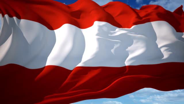 vídeos de stock, filmes e b-roll de bandeira austríaca - áustria