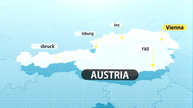 vídeos de stock, filmes e b-roll de mapa austríaco - áustria