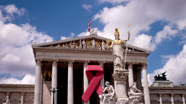 Austrian Parliament with red ribbon - Time Lapse video