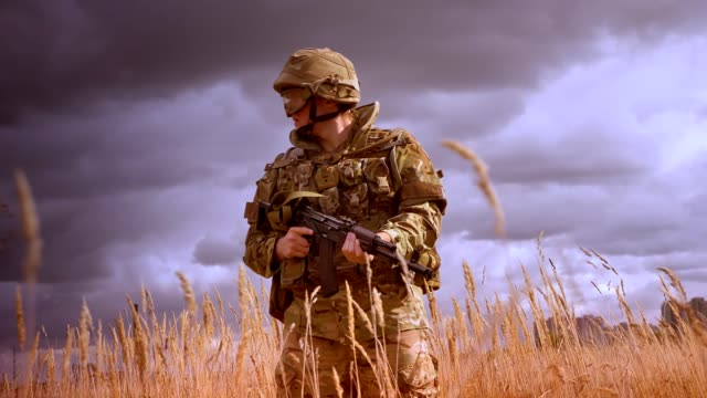 Authentic soldier in military clothes and helmet standing still and turning around with gun in hands, lost in nature yellow field and windy darkening weather, presistand defender Authentic soldier in military clothes and helmet standing still and turning around with gun in hands, lost in nature yellow field and windy darkening weather, presistand defender. army soldier stock videos & royalty-free footage