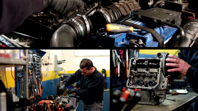 Auto mechanic repairing a car video