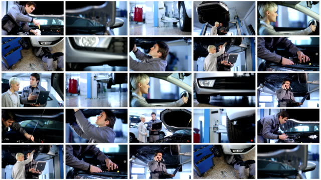 vídeos de stock e filmes b-roll de mecânico de carros loja. parede de vídeo. - fundo oficina