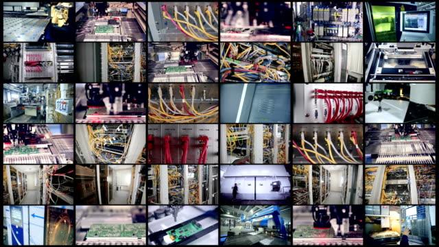 produzione automatizzata di circuiti stampati, fili di computer. videowall. monitor, schermi in movimento. - metal robot in logistic factory video stock e b–roll