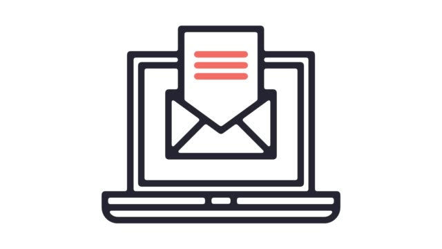 Automated Emails Line Icon Animation with Alpha