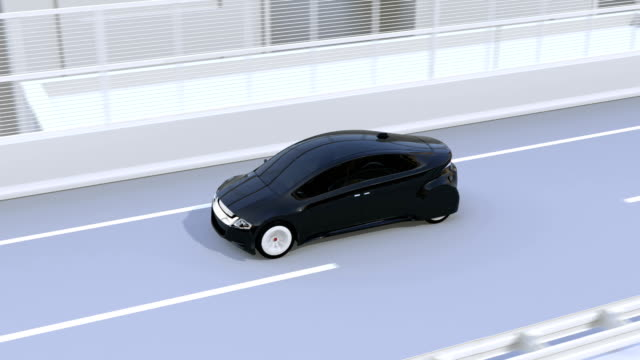 Automatic braking system avoid car crash from traffic jam. Concept for driver assistance systems video