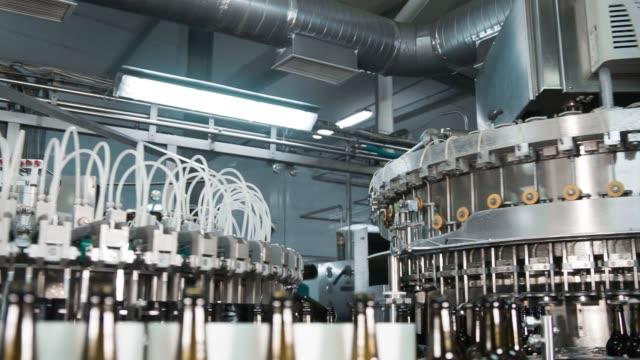 automatische abfüllmaschine bier in einer brauerei. - halle gebäude stock-videos und b-roll-filmmaterial