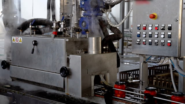 automatic line for processing and canning vegetables . preserving tomatoes 2 - autoclave video stock e b–roll