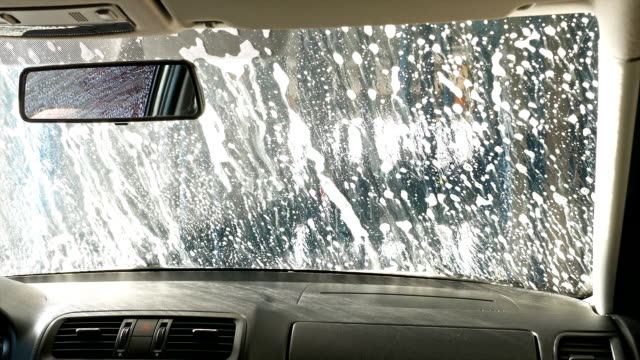 Automatic tunnel car wash. View from inside. video