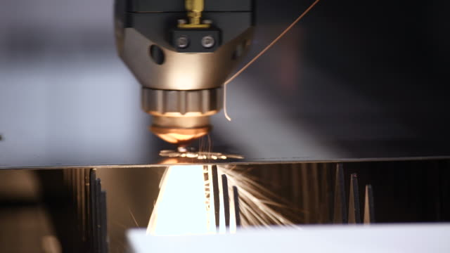 automatic weld laser cut machine metalwork close up. metalwork. - metal robot in logistic factory video stock e b–roll